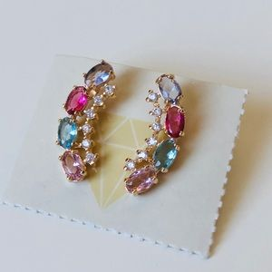 Jewelry - Perfect multicolor Climber Earrings 18kgold plated